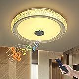 JDONG X5055SJ-36W-LY - Lámpara de techo de intensidad regulable con mando a distancia y altavoz Bluetooth, 36W, pantalla que imita el cristal (de acrílico), para salón, dormitorio, cocina y comedor