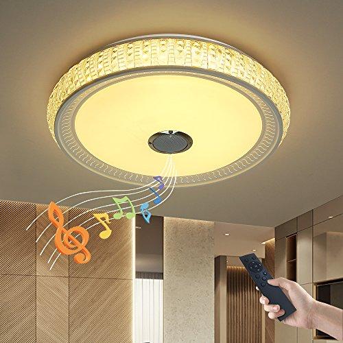 Dimmbare Deckenleuchte mitFernbedienung und Bluetooth Lautsprecher 36W Kristall Lampenschirm(Nachahmung,aus Acryl) fürWohnzimmer,Schlafzimmer,KücheundEsszimmer JDONG X5055SJ-36W-LY