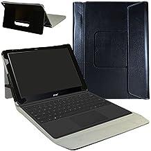 """Acer Switch Alpha 12 Funda,Mama Mouth 2-en-1 Portafolio de Cuero Sintético con Soporte y Base de Teclado desmontable para para 12"""" Acer Aspire Switch Alpha 12 Windows 10 Windows 10 2-in-1 Tablet,Negro"""