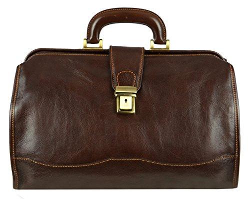 Leder Doktortasche, Leder Arzttasche, Leder Aktentasche, Vintage-Stil Arzt Tasche, Umhängetasche Braun - Time Resistance -