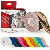 Proworks Kinesiologie Tape [5cm x 5m Rollenlänge] Tape für Muskeln und Gelenke [Wasserfest] für Training, Physiotherapie und Schmerztherapie in verschiedenen Farben - Camouflage Grün