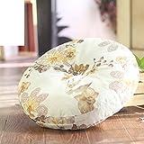 LJ&XJ Bodenkissen,Runde sitzkissen erhöhen verdickt für büro stock erker tatami student hocker bank kissen yoga kissen natürlichen leinen futon sofakissen-J 40x40cm(16x16inch)