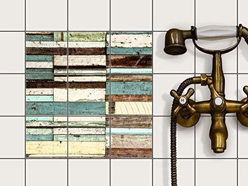 Küche Bad Fliesentattoo | Fliesen Dekorfolie Küchen-Fliesen Kühlschranksticker Wandtattoo | 10x10 cm Design Motiv Schiffsbruch - 9 Stück