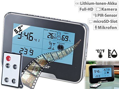 Somikon Wetterstation mit Kamera: Full-HD-Überwachungskamera mit Wetterstation und Bewegungserkennung (Kamera Uhr)