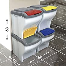 Bama - Cubo para reciclaje Poker, juego de 4unidades x 20l, cubo de basura modular