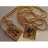 Escapulario Cadena Rosario del ArcAngel San Miguel y Sagrado Corazon de Oro