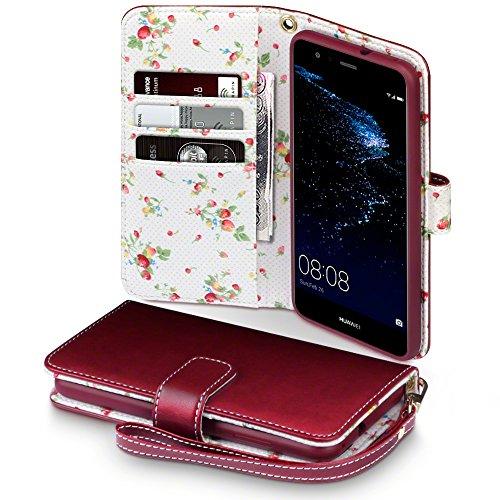 P10 Lite Cover, Terrapin Handy Leder Brieftasche Case Hülle mit Standfunktion Kartenfächer für Huawei P10 Lite Hülle Rot mit Blumen Interior