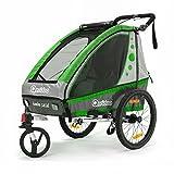 Qeridoo Jumbo 1 Kinder-Fahrradanhänger (1 Kind) - grün