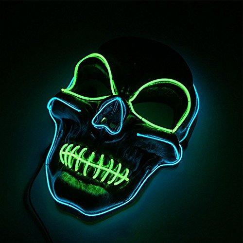 Queta LED Beleuchtung Maske Halloween Scary Maske Leuchtenden -