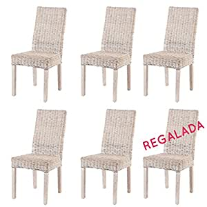 Soldes lot 6 chaises en rotin blanc zicavo chaises for Chaises en rotin soldes