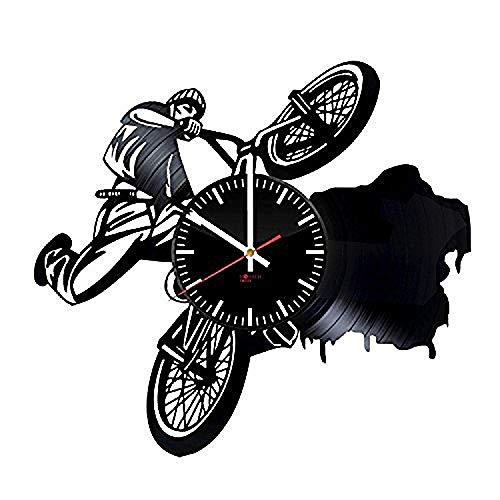 AIYOUBU- Fahrrad handgemachte Schallplatte Wanduhr Serie einzigartige Garage Wand-Dekor - Geschenk kreative Jungen und Mädchen Bruder Männer??Sport Bike Unique Art Design