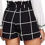 Voberry@ Women's s Hot Pants Plaid Stripe Mid Loose Waist Beach Shorts Jersey Walking Shorts (L,)