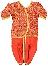 ATHARV Cotton Shaadi Season Special Red Gujrati Dress For Kids
