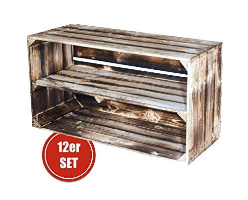 1-12 Set Große Geflammte Holzkiste mit Mittelbrett auf Rollen 74,5x40,5x31cm (12er Paket)