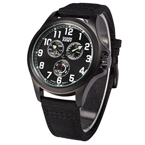 SHARK ARMY Herren Armbanduhr Quarz Schwarz Nylon Armband und Zifferblatt Sportuhr SWA128