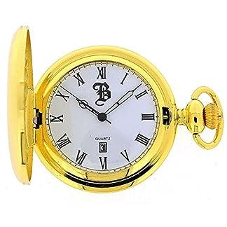 BOXX-goldfarbene-Sprungdeckel-Taschenuhr-an-3048-cm-Kette-Boxx185