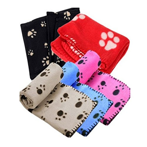 unicoco Cute Floral Paw Print Dog Puppy Fleece Weiche Pet Betten Warm für Hunde Bad mit und PET CAT Matten Decke Matte