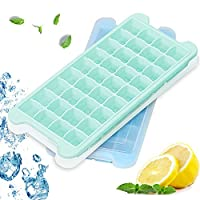 AYAMAYA Ice Cube Tray, 36 Square 2 Pcs Silicone Ice Cubes Maker for Whiskey Cocktail Drinks Chilled with Removable Lids, [ BPA-Free ] & [ FDA-Approved ] [LFGB Certified] Easy Release Freezer Molds