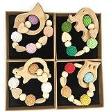 Coskiss 4Pcs Corazón Titular de ganchillo de madera del pájaro de elefante Pingüino búho tortuga dentición Ducha Cadena de chupete de bebé Mordedor pulsera Rattle (Color 12)