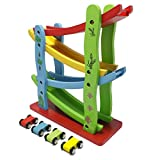 Enlarge toy image: JJOnlineStore - Wooden Colourful Baby Kid Toddler Click Clack Zig Zag Race Car Track Slider Toy Game
