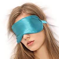 FiveSeasonStuff 100% Turquoise Pure Mulberry Silk-Filled Comfortable and Breathable Luxuriously Sleeping Mask / Sleep Eye Mask / Eye Mask for Air Travel + Storage Pouch + Ear Plugs