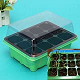 #4: Sellify Green : 12 Cells Hole Plant Seed Tray Plastic Nursery Tray with Lids Garden Tools Greenhouse Kit