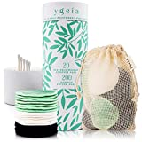 Reusable Cotton Pads (20 Pack) Bamboo Makeup Remover Pads With 200 Cotton Buds In Box | Washable Face Cotton Rounds | Zero Waste Product | Eco Friendly Makeup Wipes for All Skin Types by Ygeu00eda