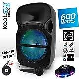 'ALTOPARLANTE Karaoke sono DJ PA MOBILE A LED RGB 12/31cm 600W–Cavo PC/USB/Bluetooth/SD + microfono–koolstar nsx12