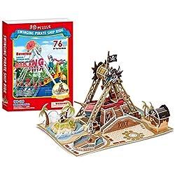 Rompecabezas tridimensional con diseño de barco pirata.