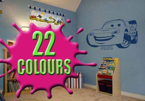 Lightning Mcqueen-Sticker mural pour enfant personnalisé avec le nom de votre choix-(Grand) Wohnzimmer Mcqueen