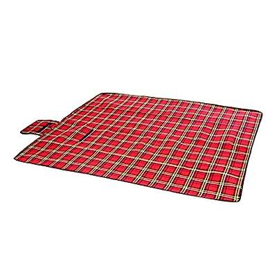 Nexos Picknickdecke rot kariert 150 x 130 cm faltbar Strandlaken wasserabweisend Badetuch Karomuster tragbar Campingdecke von Nexos bei Gartenmöbel von Du und Dein Garten