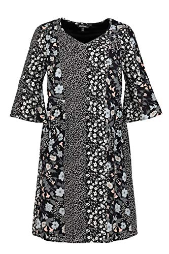 Ulla Popken Große Größen Damen Kleid Volants, Mehrfarbig (Multicolor 90), 50