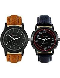 Talgo 2017 New Collection Foxter (combo Of 2) Black Round Shapped Dial Leather Strap Fashion Wrist Watch For Boys... - B0763W8PYX