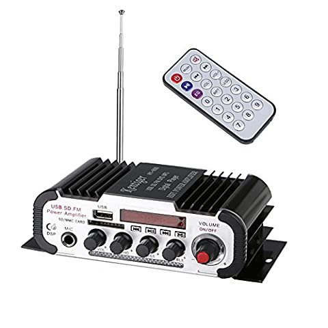 Mini Karaoke Machine Hifi Power Amplifier Digital Car Stereo Amplifier with Remote Control, Support FM/ MP3/ USB/ SD/DVD/VCD/Aux-in for Auto Car/ Boat/ Motorcycle/ Home