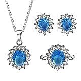 Kinlene Collar de Piedra Circular de Moda para Mujer Joyería del Anillo del Pendiente (Azul Cielo)