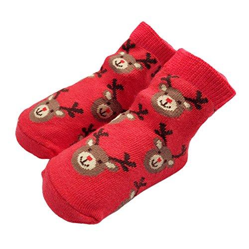 Sanlutoz Bambin Bébé garçon fille Noël Chaussettes Cadeaux Père Noël Nouveau-né Chaussette infantile Halloween (12-24 mois, SOCKN001-RD)