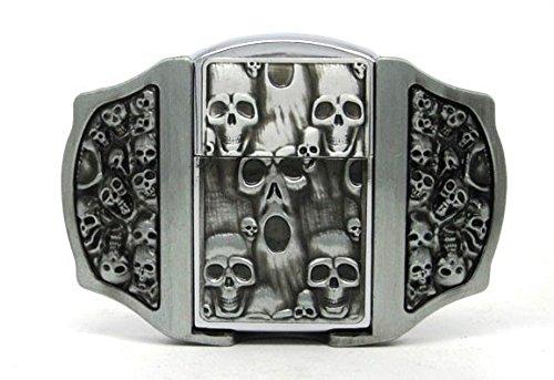Preisvergleich Produktbild Totenkopf Biker Motorrad Feuerzeug Metall Gürtelschnalle