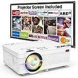 Proyector QKK, Proyector Mini con Pantalla de Proyección, Proyector Lumen 3800 de Video Soporta...