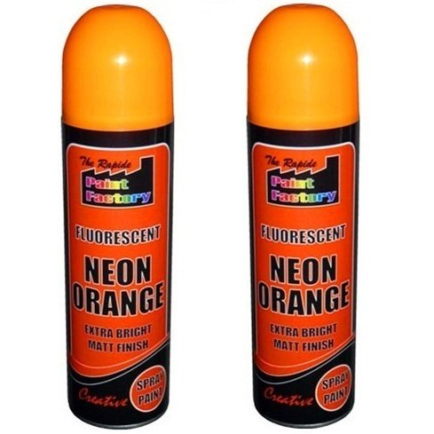 2-x-orange-fluorescent-neon-spray-paint-matt-diy-interior-exterior-bright-colour-aerosol