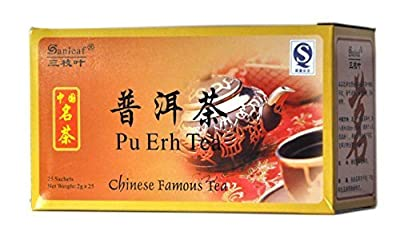 Lot de 4 Erh Pu imitation similicuir er Puer'er de thé pour perte de poids 100 sachets de thé minceur = 2 mois