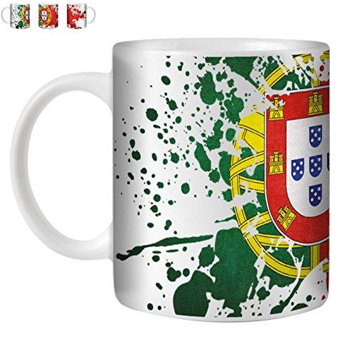STUFF4 Tasse de Café/Thé 350ml/Portugal/Drapeau Splat Pays/Céramique Blanche/ST10