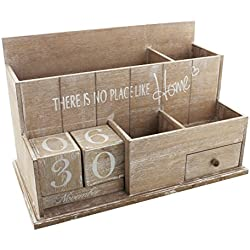 Theirs No Place Like Home - Organizador de madera para escritorio, con calendario perpetuo