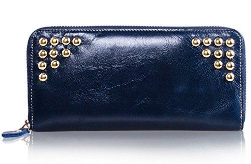 Xinmaoyuan Portafogli donna Donna gambe lunghe rivetti Purse Wallet avvolti a mano di cera olio portafoglio in pelle una piega borsa a mano,rosso Blue