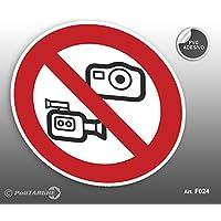 """'Cartel Adhesivo de PVC Diámetro cm 12,5prohibido fotografare y hacer vídeos gráfica """""""