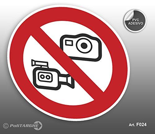 'Cartel Adhesivo de PVC Diámetro cm 12,5prohibido fotografare y hacer vídeos gráfica '