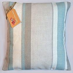 Hetty Mae manualidades cojín hecho a mano en Reino Unido a partir de Laura Ashley Eaton tela de color azul a rayas–trasera de color crema con sobres apertura, algodón, crema, 50,8 x 50,8 cm (20 x 20 pulgadas)