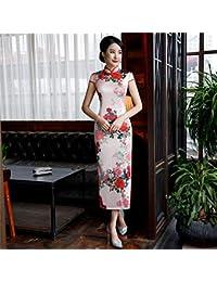b51606ee570611 YAN Womens Cinese Vestito Stampa Fiori Rosa Stand Collare Manica Corta  Cheongsam Qipao Matrimonio Casual Party