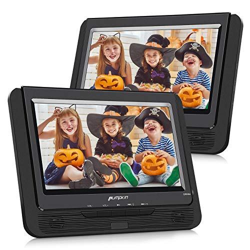 Pumpkin DVD Portatil Coche 2 Pantallas 9 Pulgadas Reproductor para Reposacabezas con Cargador de Coche, Soporta SD/USB/CD Multiregiones, con Control Remoto