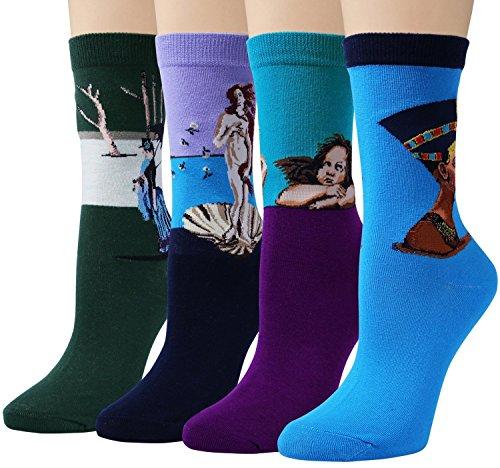 Chalier Pack de 4/5 Mujer Calcetines Ocasionales Divertidos Impresos de Algodón de Pintura Famosa de Arte Calcetines