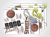 GRAZDesign 411016_4 Fenstersticker Sportarten mit Ball | Fensterbild für Dein Kinderzimmer | Glasdekor (DIN A4 (4Stück))